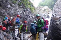 渓流遡行の技術訓練