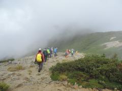登山中の受講生
