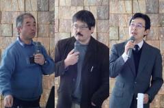 講演する本学部教員(左から春日教授、渡邉准教授、竹田准教授)