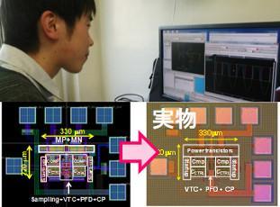 CADツールを用いた集積回路設計を通じて本物のチップの試作が可能。