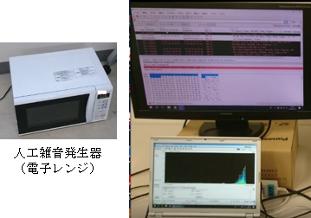 人工雑音による物理層セキュリティ実験  電子レンジの漏洩電波を人工雑音に見立て、不特定の無線局による復調困難性を高めることで通信の安全性を実現する。