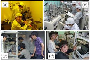 実験風景 (a) 光を用いたデバイス加工の様子、(b) 薄膜作製工程の様子 (c) 有機太陽電池の測定、(d) 作製した回路の電気特性評価の様子