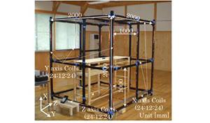 一辺2mの3軸一様磁界発生コイル。生活空間の低周波磁界の模擬だけでなく、地磁気の低減による宇宙磁界空間の模擬等に使用
