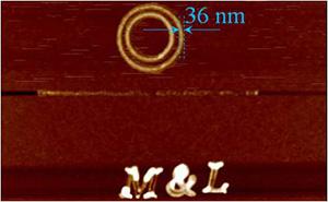 研究室のナノリソグラフィー加工の例。この画像は原子間力顕微鏡のイメージです。1 nm=10億分の1メートル