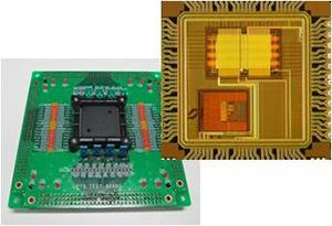 測定ボードと集積回路チップ。設計した集積回路試作チップに対して、仕様通り動くかどうかの検証を、測定により確認する