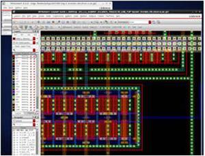集積回路設計の様子。アプリケーションに応じて、仕様を決め、回路図を作成し、それに対応した数十nm精度の配線レイアウトをCADソフト上で描き、半導体チップを設計、試作する。