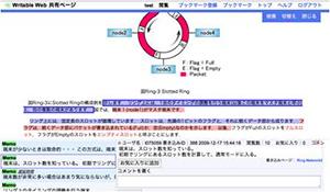 "Webページとして作成された電子教科書に、直接書き込みを行い、他の学習者と議論を行うことを実現した""Writable Web""システム"