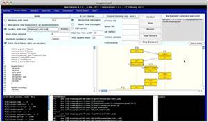 SPINモデル検査ツール統合環境iSPINによる検証とランダムウォーク・シミュレーション実行の様子(通信プロトコル設計の検証中)