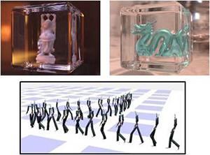 リアルなCGを高速に作成するための研究や、モーションキャプチャデータから強化学習と呼ばれる手法でアニメーションを作成する手法の研究なども行っている