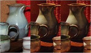 画像合成によるノイズ除去。フラッシュ画像(左)の模様とノンフラッシュ画像(中央)の色合いを合成して作り出された画像(右)