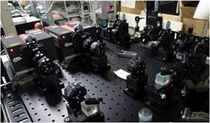 ノルウェーに設置した高出力ナトリウムライダー用レーザーの一部。レーザ波長の超精密制御を行う