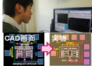 商用CADツールを用いた本格的な集積回路設計を通じて設計したチップが実際に手元に届き、測定可能。