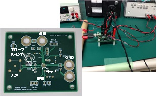 試作したチップを搭載した評価ボードの写真(左)と測定時の風景(右)。