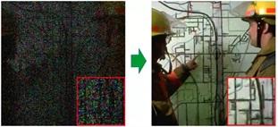 情報が欠落した画像データ(左)からの画像の復元(右)。画像のもつ特徴をうまく定式化し、方程式を解いていくと、より綺麗に色ムラを抑えつつ復元できる