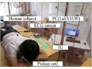 ヒトの心臓磁界計測実験風景。生体磁気計測は液体窒素/ヘリウムを必要とするSQUIDセンサ(超電導量子干渉素子)を必要とする。研究室で製作可能なインダクション磁気センサで実現した