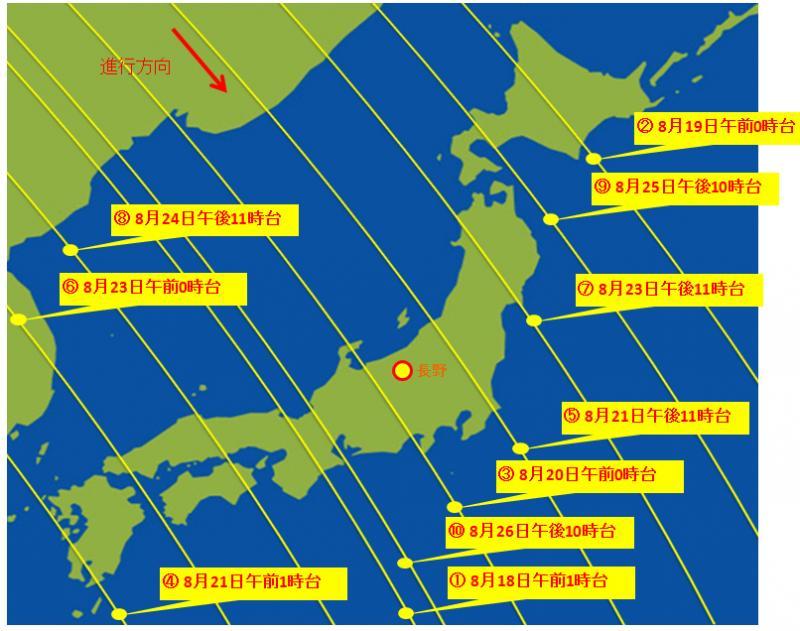 8月18日~26日のLED点灯実験における「ぎんれい」の軌道