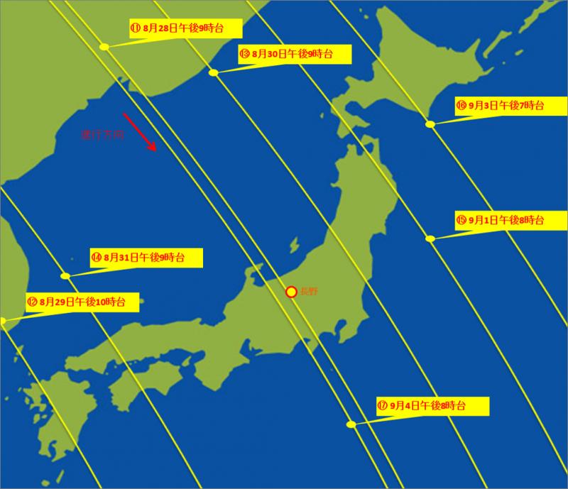 平成26年8月28日~9月4日のLED点灯実験における「ぎんれい」の軌道