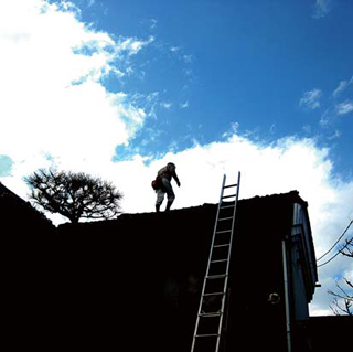 屋根の上にのぼる