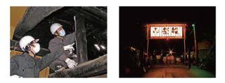 左:民家の調査をする学生 右:祭り前日の夜