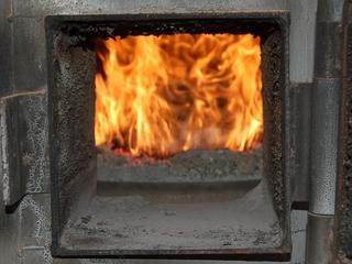 ペレットボイラーの炎