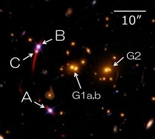 クェーサーSDSS J1029+2623の3つのレンズ像