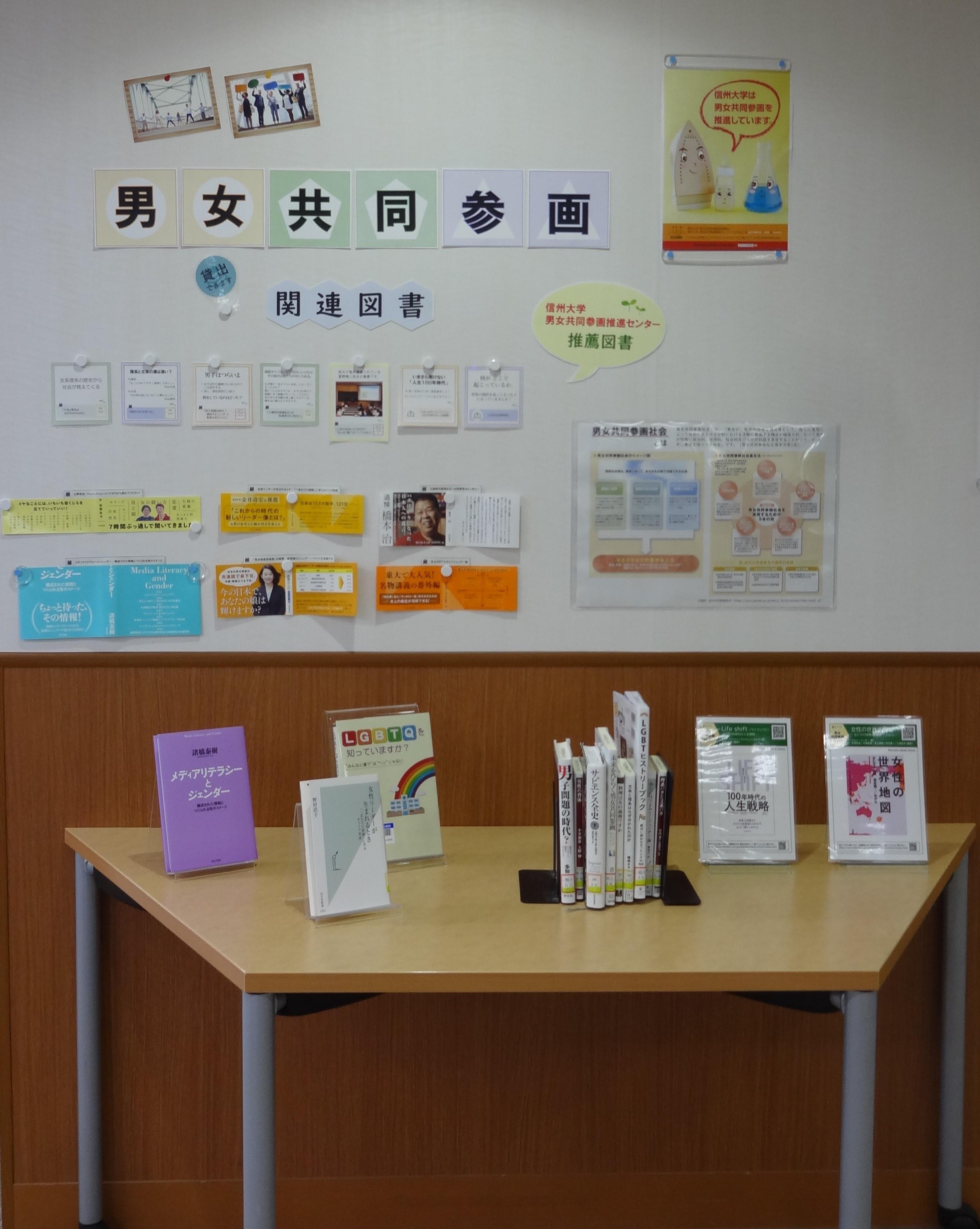 中央図書館にて男女共同参画関連図書の展示が始まりました