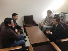 学部長表敬訪問(画面左から Baatarbileg学部長、Gerelbaatar准教授、安江准教授、藤田農学部長)