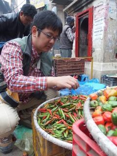 ネパール、カトマンズの市場で、在来トウガラシ品種を調査する松島准教授