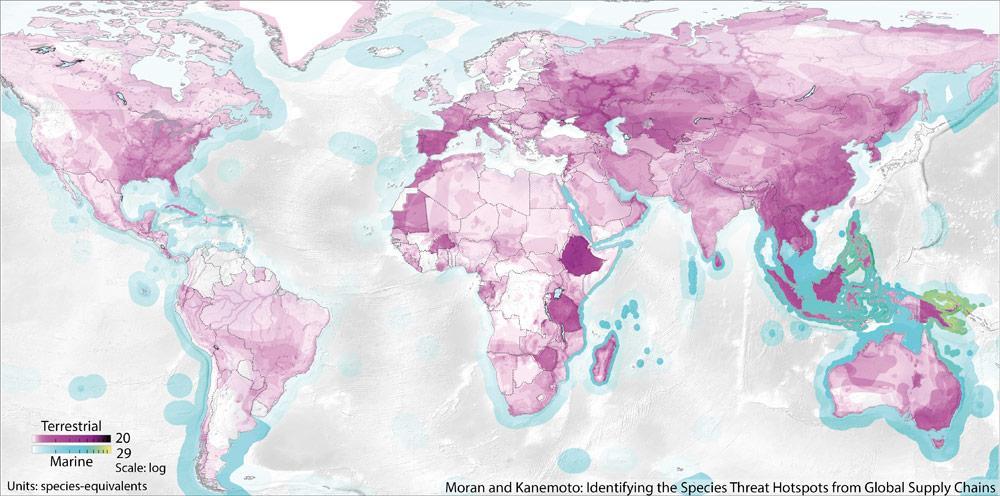 日本の消費が引き起こす絶滅危惧種のホットスポットの分布図