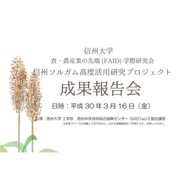 アイキャッチ画像:【開催告知】信州ソルガム高度活用研究プロジェクト 2018年度成果報告会