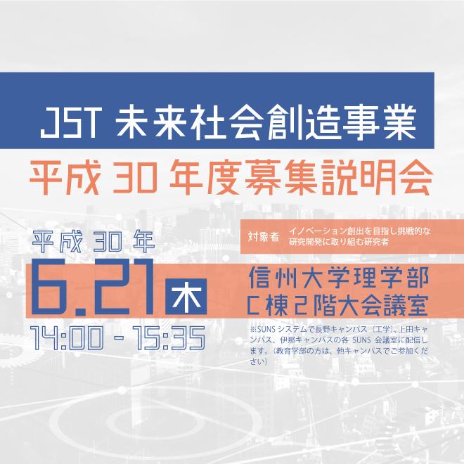 アイキャッチ画像:【開催告知】「JST未来社会創造事業」平成30年度募集説明会